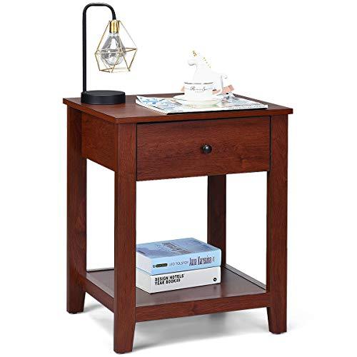 COSTWAY Nachttisch fürs Bett, Nachtkommode Holz, Nachtkonsole mit Schublade, Beistelltisch braun, Sofatisch quadratisch, 62x50x42cm