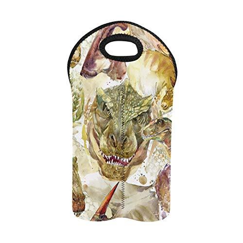 Bolsa de vino recargable Dinosaurios Sin costura Animales prehistóricos dibujados a mano Bolsas de vino con asas Portabotellas doble Bolsa de transporte de vino Soporte de botella