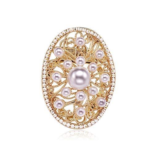 Broches de boda Pescadores de perlas hechas por el hombre, para ropa de cuello accesorios bufandas broche de alta gama de doble propósito lujo de lujo con decoración de broche grande (dorado) Broche d