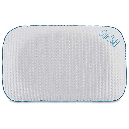 I Love Pillow Out Cold Contour Sleeping Pillow with Dual Climate Cooling Cover and Solid Proprietary Memory Foam Core, Queen, White