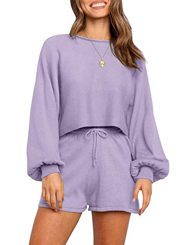 SYZRI Women's 2 Piece Knit Outfits Puff Sleeve Crop Top Shorts Set Sweater Sweatsuit, Lavender, S