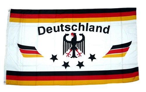 Fahne/Flagge Deutschland Fußball 4 Sterne weiß 90 x 150 cm