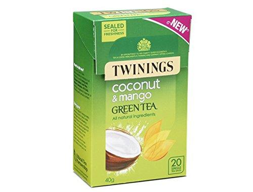 Twinings Té verde con coco y mango 20 bolsas de té. Paquete de prueba con exprimidor de bolsitas de té de acero inoxidable
