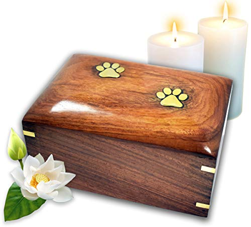 Lindia Artisans Beautiful Wooden Pet Urn with Brass Paw Design (Medium Size, Supports 70 lbs Pet) - Rosewood Pet Cremation Urn - Perfect Memorial Pet Urns for Dog and Cat Ashes (Medium)