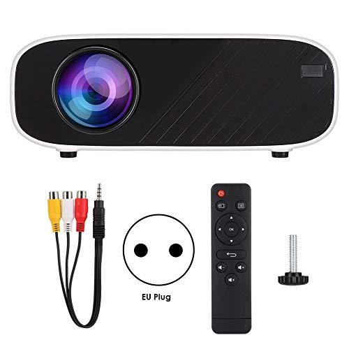 Diyeeni Mini Proyector Portátil,1280 * 720P,16770K Colores,30,000 Horas de Vida de Lámpara LCD para Cine En Casa/Aula Multimedia/Sala de Reuniones,Soporta HDMI/USB/AV/VGA (EU Plug)