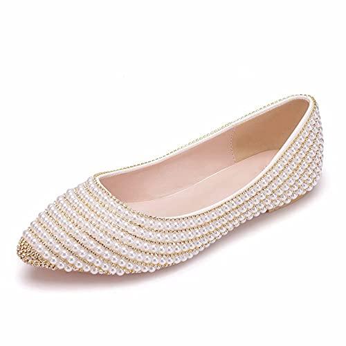 FHKBK Zapatos de Novia para Mujer, Zapatos de Boda para Dama de Honor, con Cuentas, Diamantes de imitación, Zapatos Individuales Planos, Fiesta, Cena, Zapatos de Vestir, Zapatos de Regal