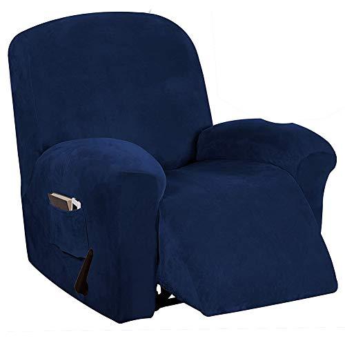 Sesselbezug Stretch Samt, Sesselschoner Für Relaxsessel, Sesselüberwürfe Bezug Für Fernsehsessel Liege Sessel, Liegestuhl Abdeckung Unabhängig (1-Sitzer,Navy blau)