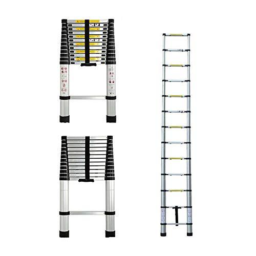 3,8m Aluminium Mehrzweckleiter Teleskopleiter Ausziehbar Leiter Klappleiter Anti-Rutsch Stufen Multifunktionsleiter Trittleiter 150KG Belastbarkeit