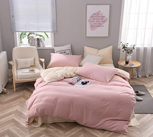 CoutureBridal Bettwäsche 155 x 220 cm Rosa Beige Microfaser Wendebettwäsche Set Uni Deckenbezug Bettbezug 155x220cm mit Reißverschluss und 1 Kissenbezüge 80 x 80 cm