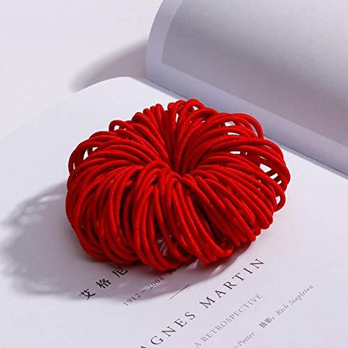 Gouen 100st meisjes snoep kleuren nylon elastische haarbanden kinderen rubberen band hoofdband scrunchie haaraccessoires, rood