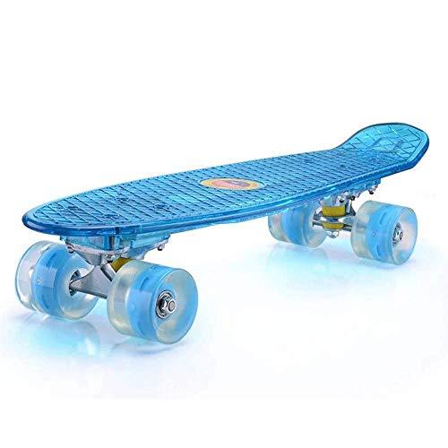 JIEJIE Kinder Led Flash-Skateboard, 22-Zoll-Boy, Girl, Skateboard QIANGQIANG (Color : Blue)