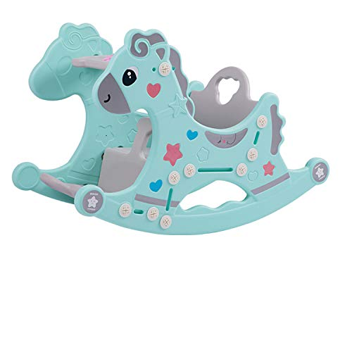 PYXZQW Indoor Kindergarten Children Blue Pink Non-Toxic Toys Rocking Horse Plastic Rider for Kids Suitable for 1-6 Years Old,Green