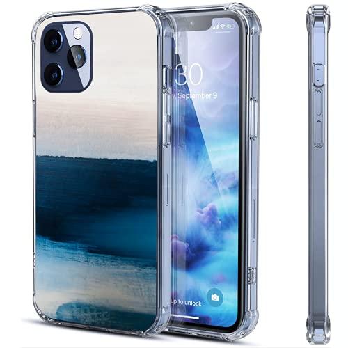 Funda transparente para iPhone 12 y 12 y 12 Pro con diseño de mar azul y horizonte, compatible con iPhone 12 y 12 Pro a prueba de golpes, funda protectora de goma suave, dos tamaños