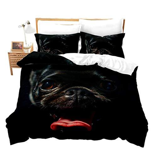 Bettbezug mit niedlichem Mops-Motiv, für Erwachsene, Jungen, Mädchen, Damen, schlichter bequemer Stil, Bettbezug mit schwarzem Hundemotiv