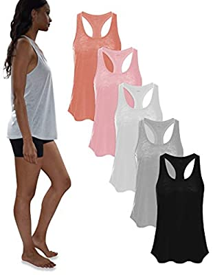 Women's 5 Pack Everyday Flowy Burnout Racer Back Active Workout Tank Tops (Small, 5 Pack- Black/Coral/Grey/Peachbud/White)