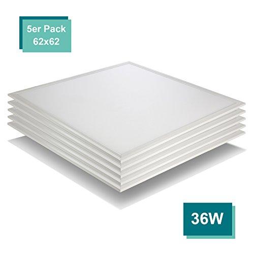[5er Pack zum Sparpreis] OUBO LED Panel 62x62 Deckenleuchte Neutralweiß 4000K, 36W, Bürolampe für Odenwalddecke, Rasterleuchten, Einlegeleuchte, Weißrahmen