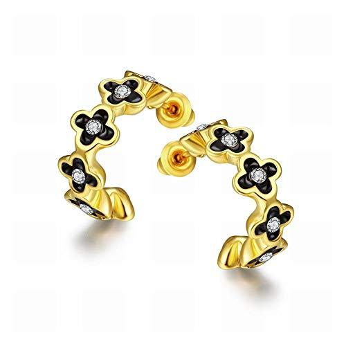 TIANYOU Un par de pendientes de oro personalizados para damas/diamantes/pequeños exquisitos/circonitas sin par/A/Seductor