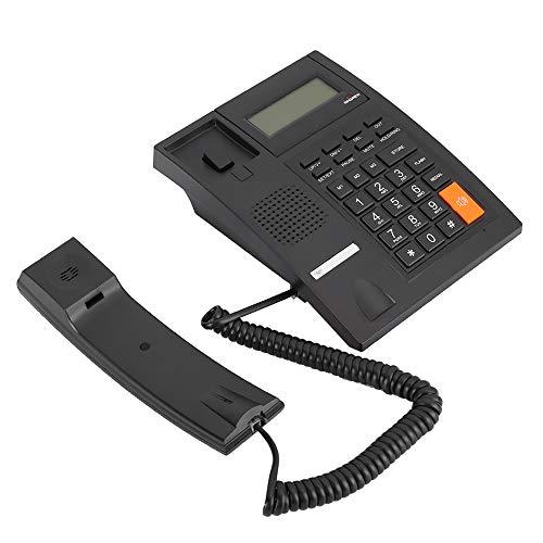 Goshyda Teléfonos fijos M64, Pantalla LCD portátil, Llamadas Manos Libres, teléfono Fijo con Cable con Memoria dinámica, para la Oficina de la Empresa Familiar