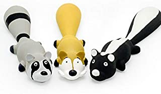 Latex Dog Toys with Squeakers, 10 Inch Safe Latex Dog Squeaky Toys Rubber Animals Raccoon Skunk Fox Soft Dog Chew Toys Int...