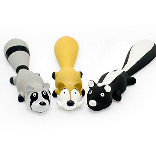 UOLIWO Latex Dog Toys with Squeakers, 10 Inch Safe Latex Dog Squeaky Toys Rubber Animals Raccoon Skunk Fox Soft Dog Chew Toys Interactive Fetch Play Puppy Toys for Small Medium Dogs Pack of 3