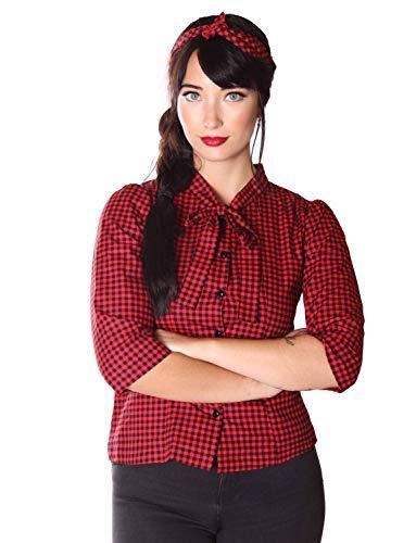 SugarShock Damen Schluppenbluse Aharia Gingham Bluse, Größe:XXL, Farbe:schwarz rot