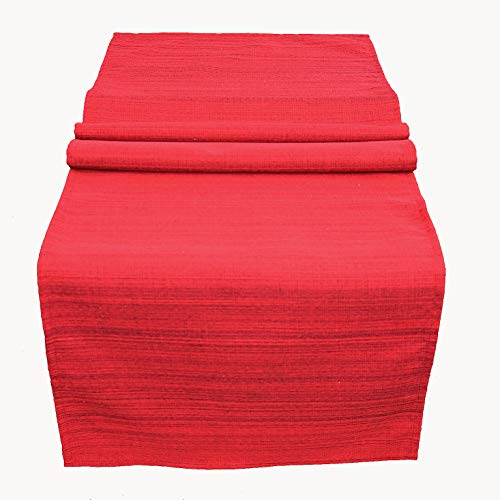 Kamaca Chemin de table de jardin - La couverture textile parfaite pour l'intérieur et l'extérieur - Résistante aux taches et aux intempéries - Infroissable (rouge - chiné, chemin de table 40 x 140 cm)