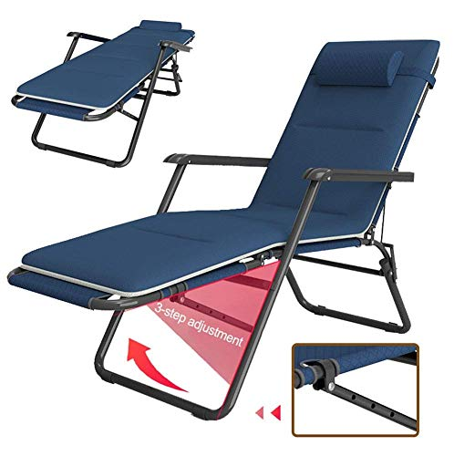 YVX Zero Folding Chair Recliner with Cushions, Adjustable Sun Loungers Chairs Heavy Duty Sun Lounger Recliner Chairs Office Lunch Break Chair for Outdoor Patio Camping Style 1
