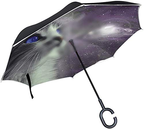 Galaxy Space Animal Cat A prueba de viento Mango en forma de C A prueba de viento A prueba de rayos UV Viaje al aire libre Sun Car Paraguas reversible