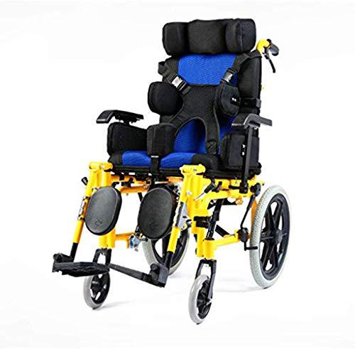 Iahshion Coche de Silla de Ruedas para niños con parálisis Cerebral, Silla de Ruedas para niños Plegable, de conducción médica, Silla de Ruedas portátil para discapacitados y discapacitados