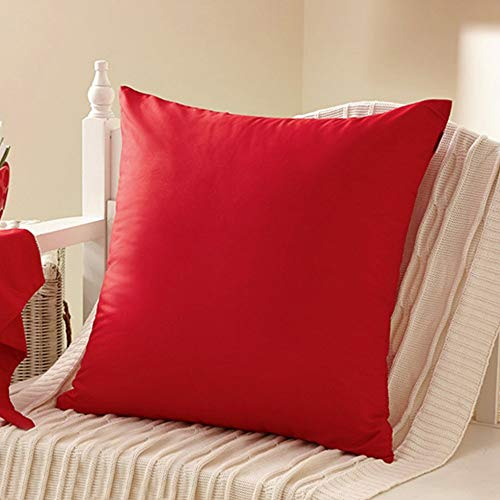YEEGO Funda de cojín cuadrada de 45,7 x 45,7 cm, 100% percal, decoración del hogar, funda de almohada de algodón teñido, color morado oscuro