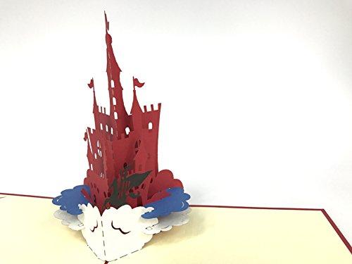 Castle Carte de vœux pop-up 3D faite à la main Happy Birthday Wedding Anniversary Friendship Merry Christmas Thanksgiving Thank You Best Wish Good Luck Happy New Year Saint-Valentin