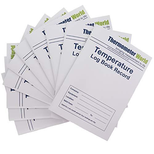 10Stück x Temperatur Log Bücher 6Monate Records–Monitor Kühlschrank Gefrierschrank Kochen Backen Temperatur Lebensmittelsicherheit und Hygiene