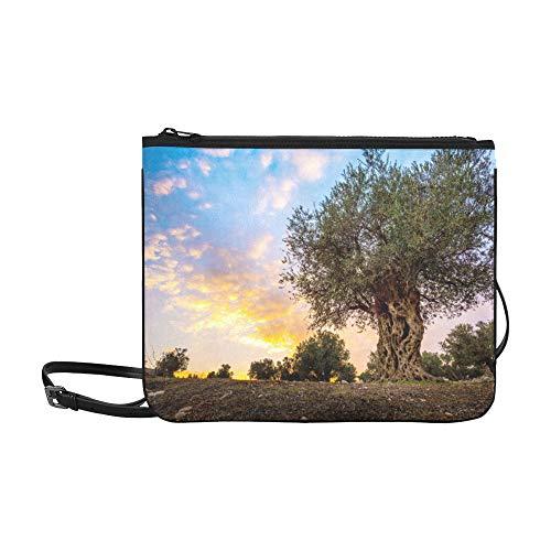 WYYWCY Olive Olive Trees In Olive Gardens Muster Benutzerdefinierte hochwertige Nylon Slim Clutch Crossbody Bag Umhängetasche