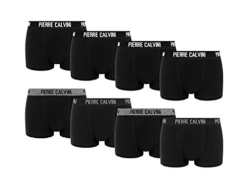 Pierre Calvini – Hipster Boxershorts, 8er Pack, Größe XL, bequeme und atmungsaktive Herren Unterwäsche, Baumwolle Unterhosen Männer in 8 Ausführungen, Basic Boxer (Schwarz, XL)
