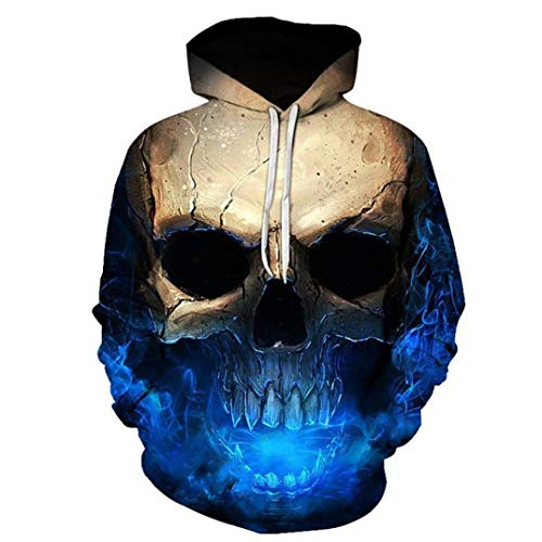 Laisla fashion Unisex Top Cool 3D Bedruckt Totenkopf Pullover Hooded Long Classic Sleeve Sweatshirt Herbst Winter Casual Hipster Pärchenhoodie Sweatshirt Bluse Jungs (Color : Blau, Size : 3XL)