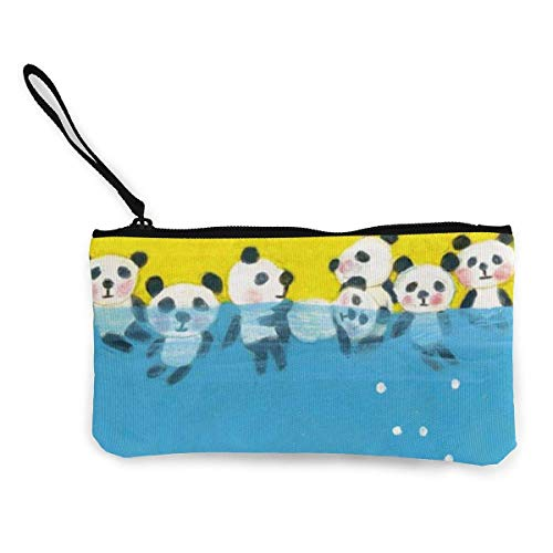 Yuanmeiju Unisex Coin Pouch Cute Panda Sea Canvas Coin Purse Cellphone Card Bag with Handle and Zipper
