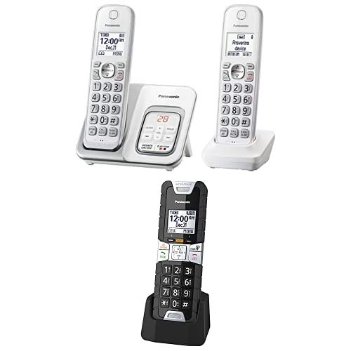 Panasonic KX-TGD532W DECT 6.0 Expandable Cordless Phone with Answering Machine, Smart Call Block, 2 handsets and Additional KX-TGTA61B Rugged Cordless Phone Handset