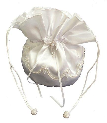LadyMYP Romantischer Brautbeutel mit Bordüre aus Perlen und Satin-Blüte, NEU, Hochzeit, Kommunion, weiß/ivory, ca. 16 * 16 cm (ivory)