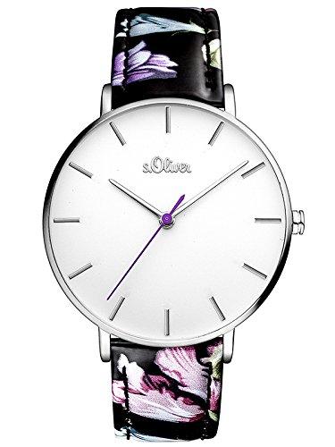 s.Oliver Damen Analog Quarz Uhr mit Leder Armband SO-3464-LQ