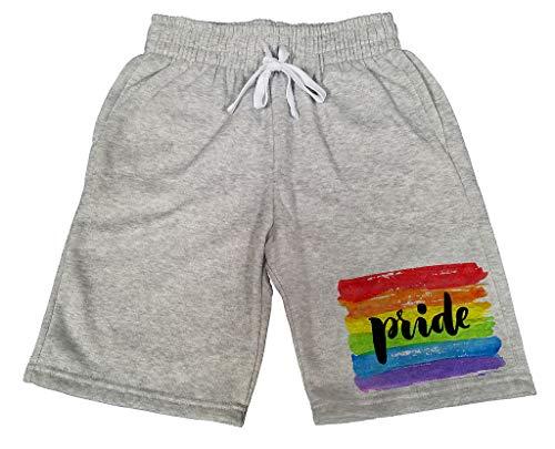 Men's Rainbow Paint Pride B796 Gray Fleece Jogger Sweatpants Gym Shorts Medium