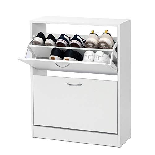 Meerveil Schuhschrank, Schuhkipper mit 2 Klappen aus E1 Holzspanplatten, Pflegearme Melaminbeschichtung B63 x H81 x T24 (Weiß)