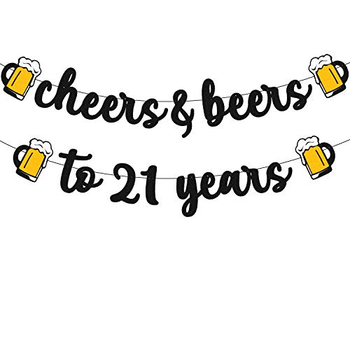 21 Birthday Banner Cheers to 21 Years Decorations for Men Women Him Her Happy 21th Birthday Anniversary Party Supplies Black Glitter PRESTRUNG