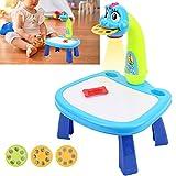 Proyector de dibujo de juguete, pintura eléctrica Proyector de mesa de dibujo Juguete educativo para niños pequeños Ayuda a los niños a dibujar juguetes educativos divertidos para niños y niñas(Azul)