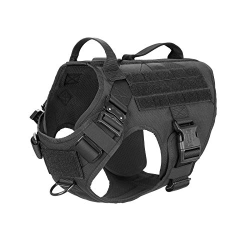 ICEFANG Tactical Dog Harness 2X Handle,Working Dog MOLLE Vest ,No Pulling Front Leash Clip,Hook and Loop for Dog Patch (L (Neck:18