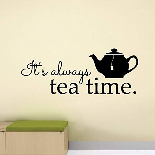 XCSJX Always Tea time Wall Decal Alice in Wonderland Poster Restaurant Quote teapot Kitchen Mural Vinyl Sticker Home Decor 63x24cm