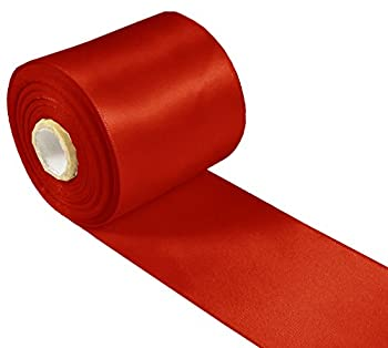 Q-YO Sparkle/Satin/Grosgrain/Autism Ribbon for Dance Floral Designs Gift Wrapping Sewing  20yd 3  Satin Ribbon-Red