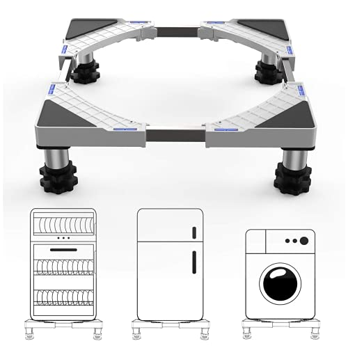 SEISSO Soporte para Lavadora/Secadora/Refrigerador Base con 4 Pies de Goma Ajustable de 44.8~69cm Tamaño ajustable en altura 9.5-12 cm