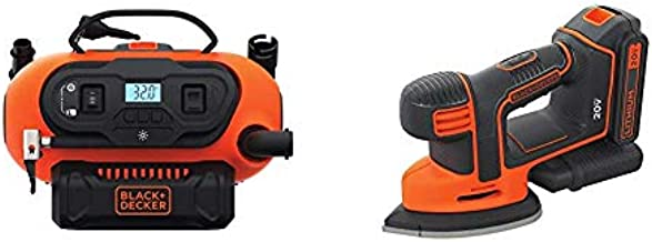 BLACK+DECKER BDINF20C 20V Lithium Cordless Multi-Purpose Inflator (Tool Only) with BLACK+DECKER BDCMS20C 20V MAX Lithium Ion MOUSE Sander