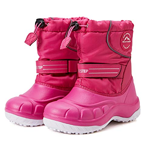 Weestep Toddler Little Kid Boys and Girls Waterprooft Warm Winter Snow Boots Pink