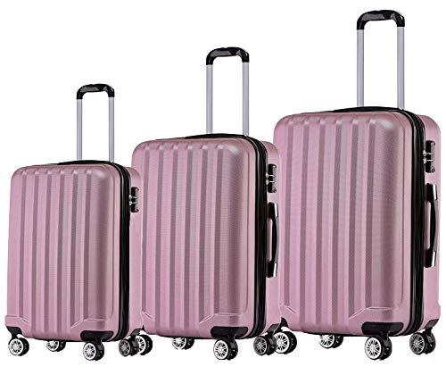 BEIBYE TSA-Schloß 2080 Zwillingsrollen 3 TLG. Reisekofferset Koffer Kofferset Trolley Trolleys Hartschale (Rosa)